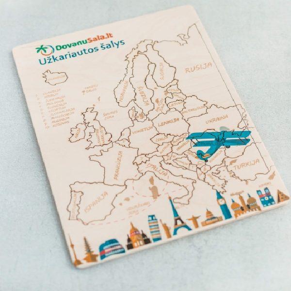 """Medinės dėlionės """"Europa"""" su individualiu dekoru"""